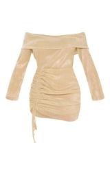Gold Metallic Plisse Bardot Ruched Bodycon Dress 3