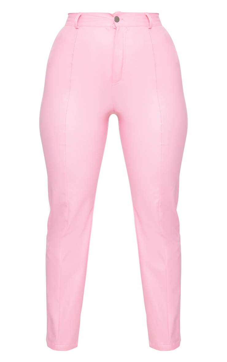 Pink Faux Leather Pintuck Skinny Trousers 6