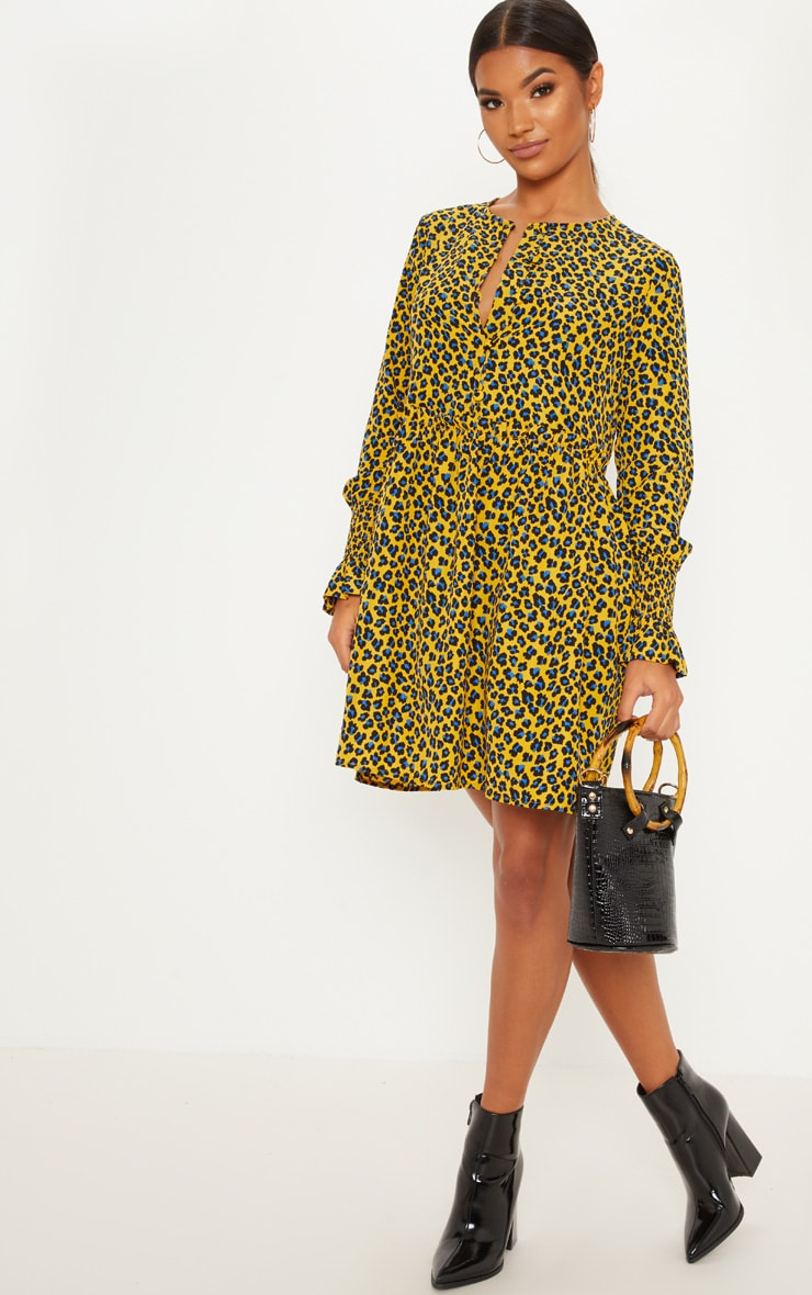 Mustard Leopard Print Covered Button Shirred Detail Smock Dress 1