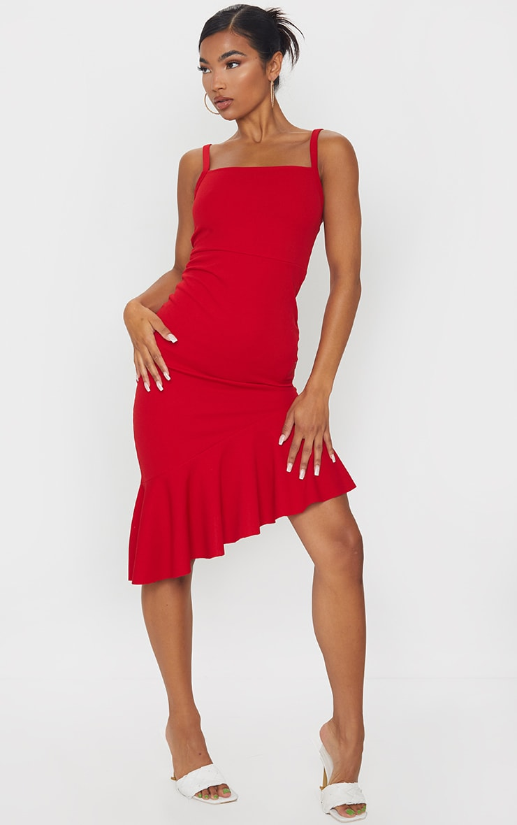 Red Asymmetric Hem Midi Dress 1