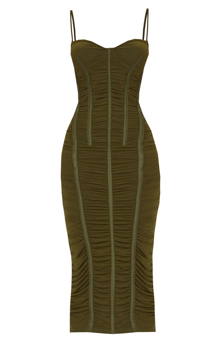 Khaki Strappy Mesh Ruched Satin Binded Midi Dress 5