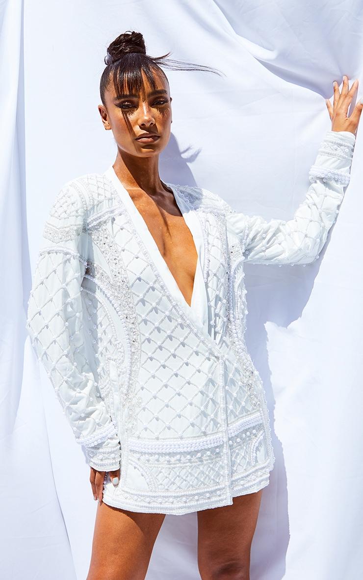 White Premium Embellished Beaded Oversized Blazer 1