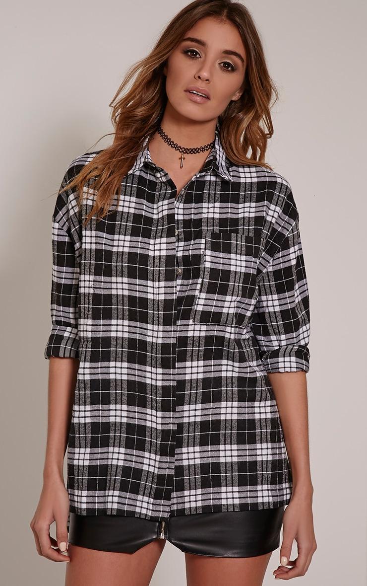 Alier Black Check Oversized Boyfriend Shirt 3