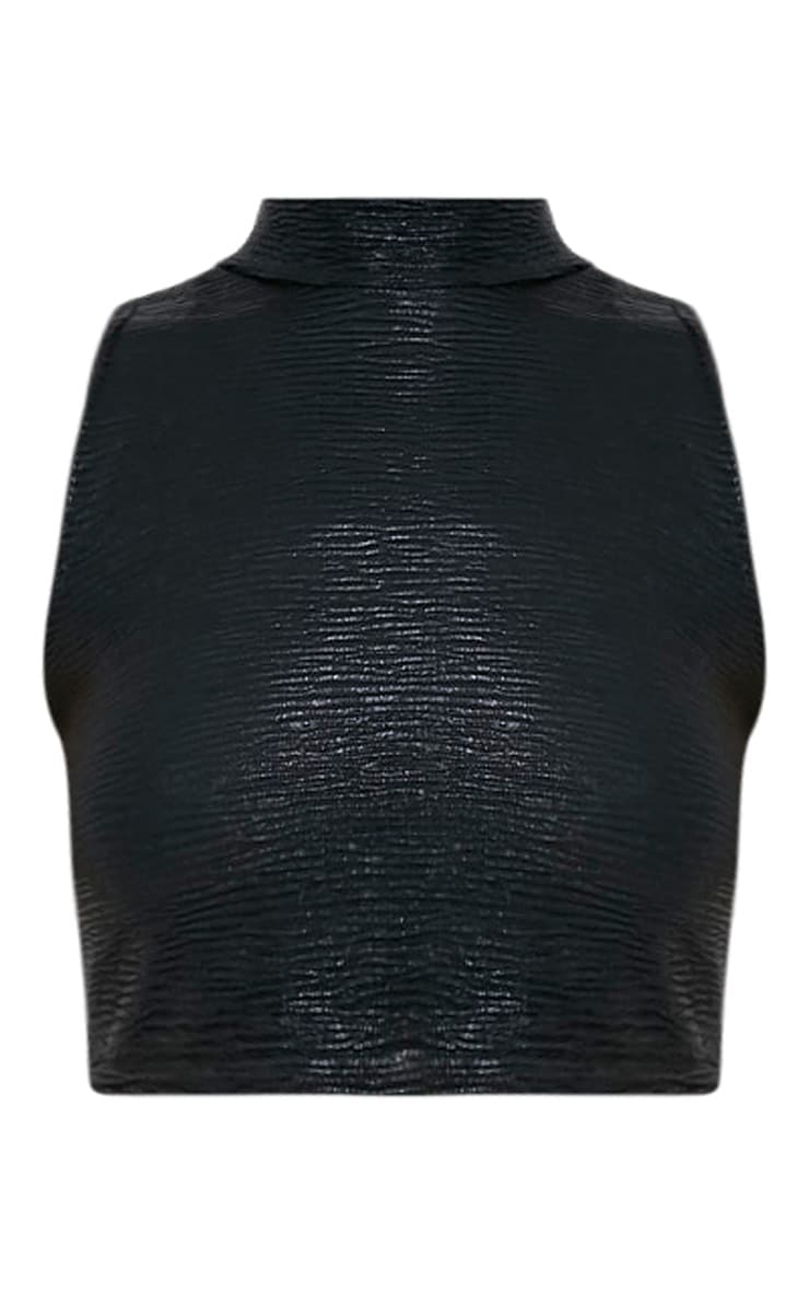 Tamera Black Metallic Crinkle Sleeveless Crop Top  3
