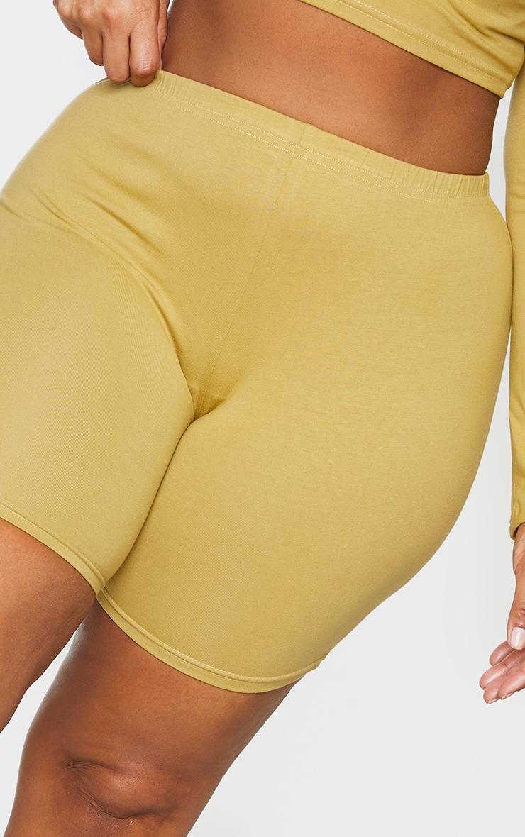 Plus Olive Cotton Basic Cycling Shorts 5