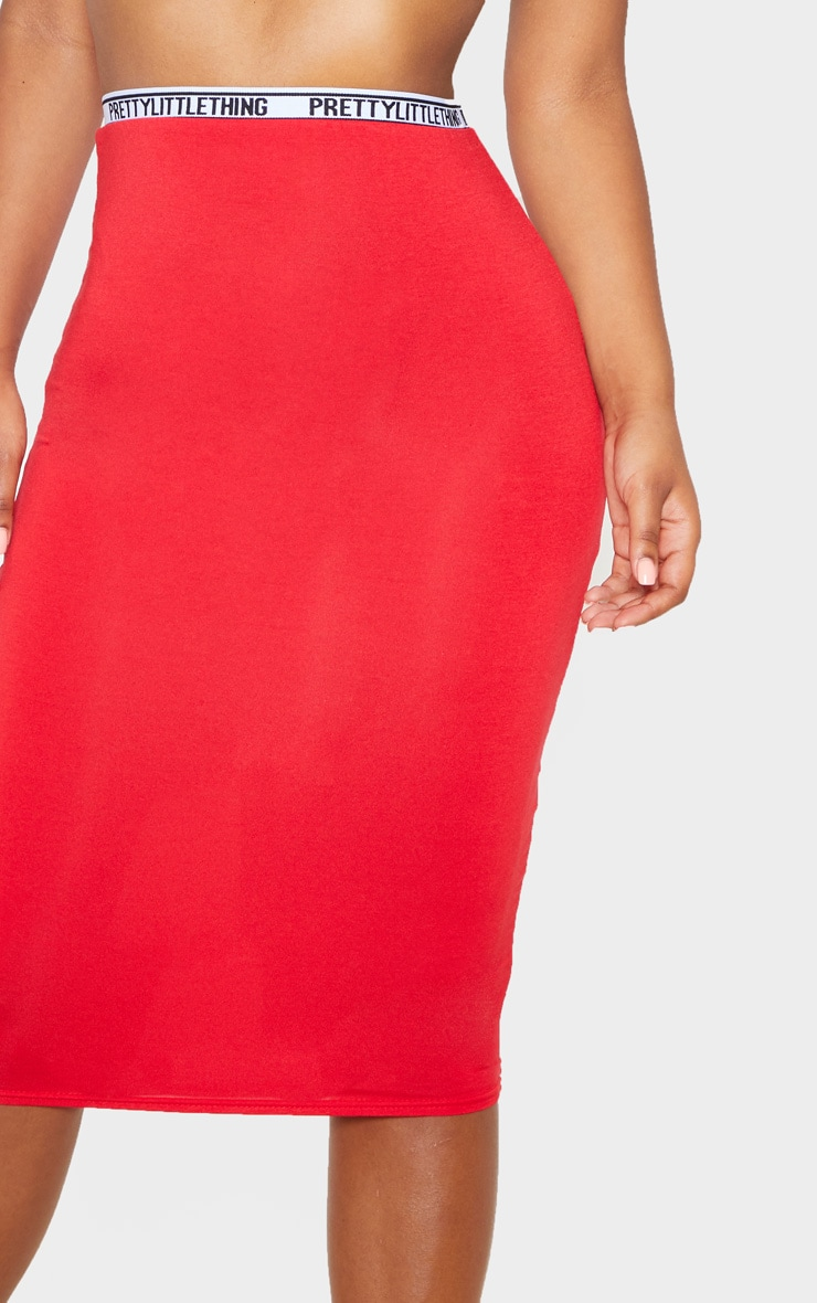 PRETTYLITTLETHING Red Tape Jersey Midi Skirt  5