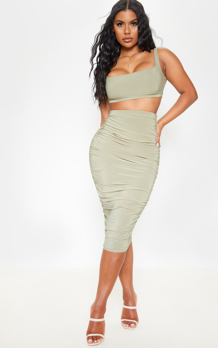 Sage Green Slinky Second Skin Ruched Midi Skirt 1