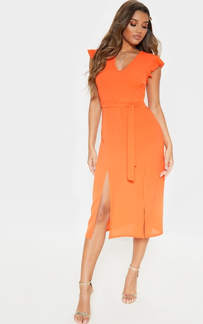 Bright Orange Plunge Frill Sleeve Split Detail Midi Dress