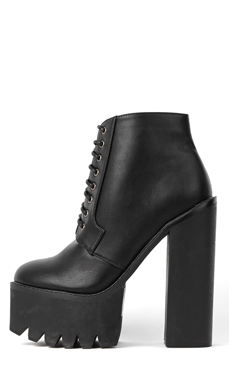Wesley Black Chunky Lace Up Boots 1