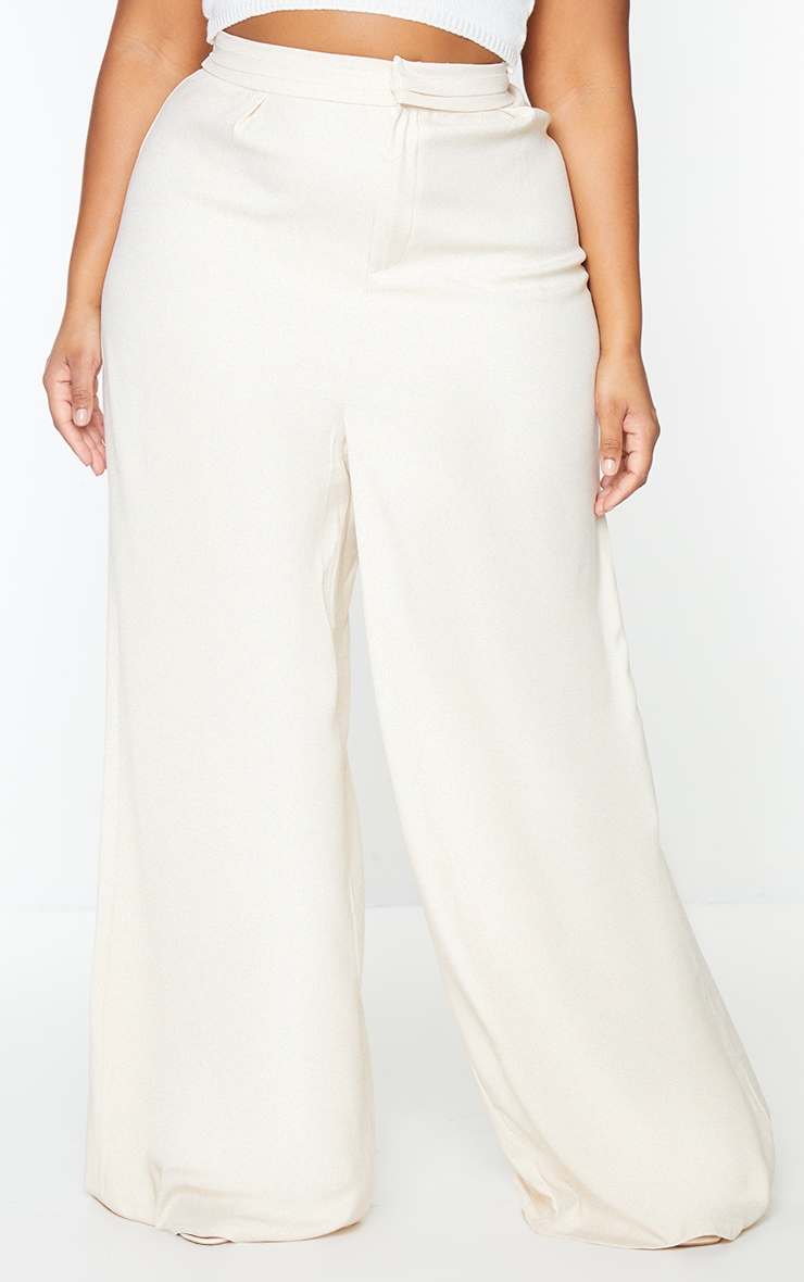 Plus Cream Woven Pleat Detail Waistband Wide Leg Trousers 2
