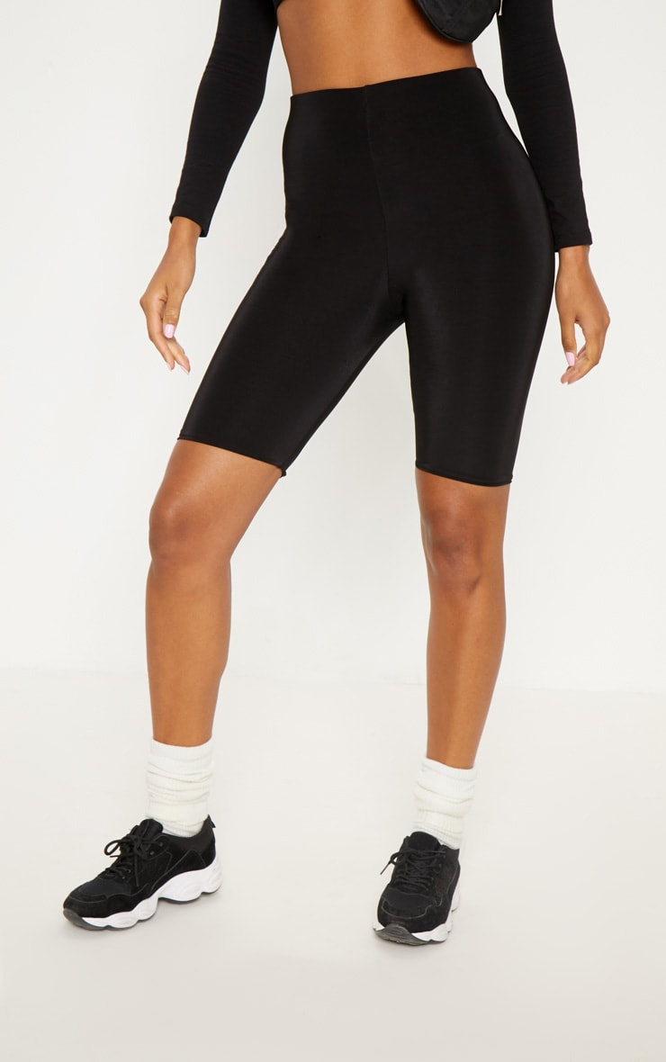 Black Slinky Longline Cycle Short 2