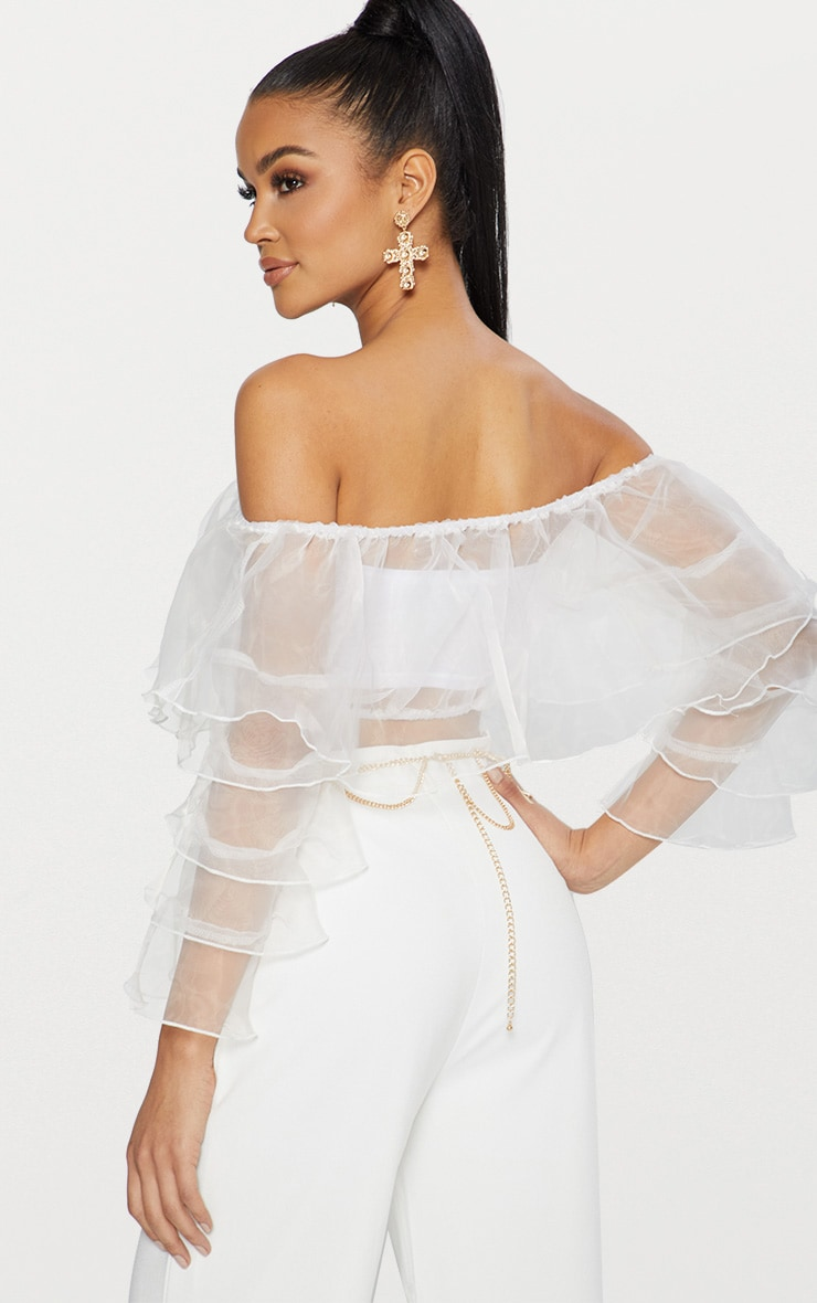 White Organza Frill Sleeve Bardot Crop Top  2