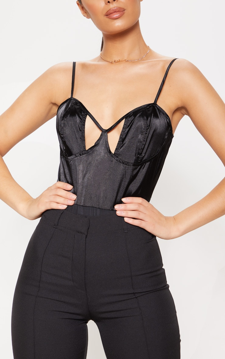 Black Satin Cut Out Bodysuit 6