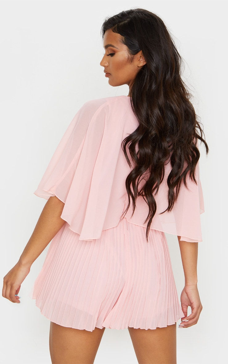 Dusty Pink Cape Pleated Detail Playsuit 2