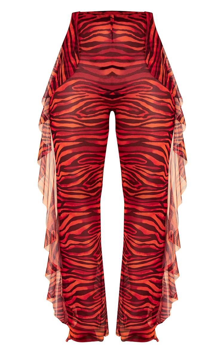 Red Zebra Frill Side Mesh Beach Pants 5