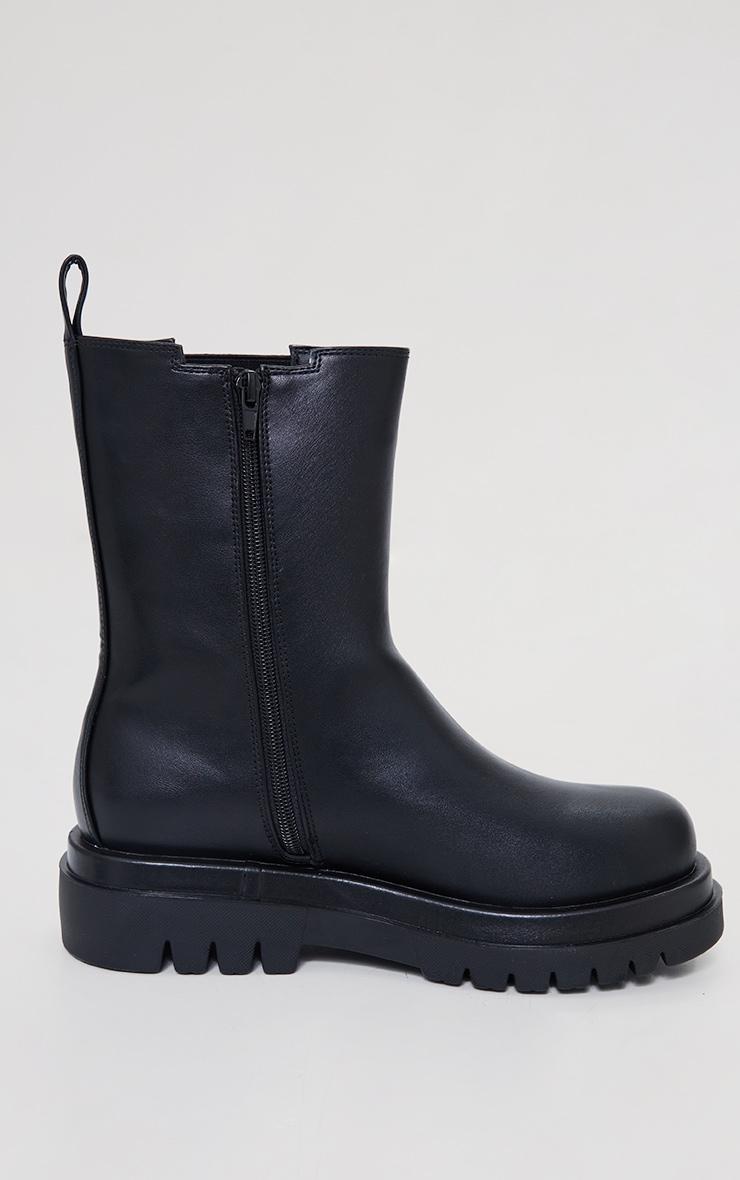 Black Wide Fit PU Calf High Vamp Chelsea Boots 4