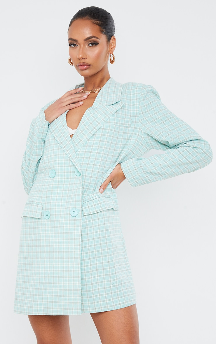 Mint Check Print Double Breasted Oversized Blazer Dress 1