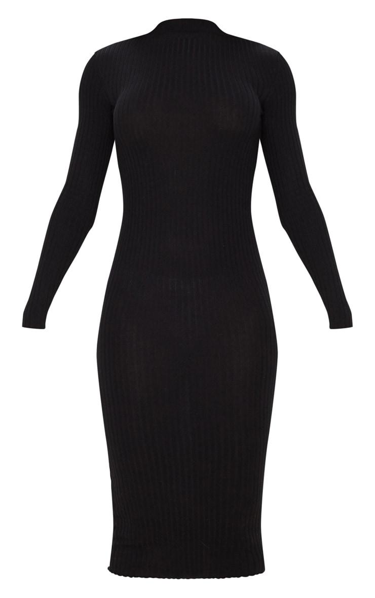 Black Rib Knitted Midi Dress 3