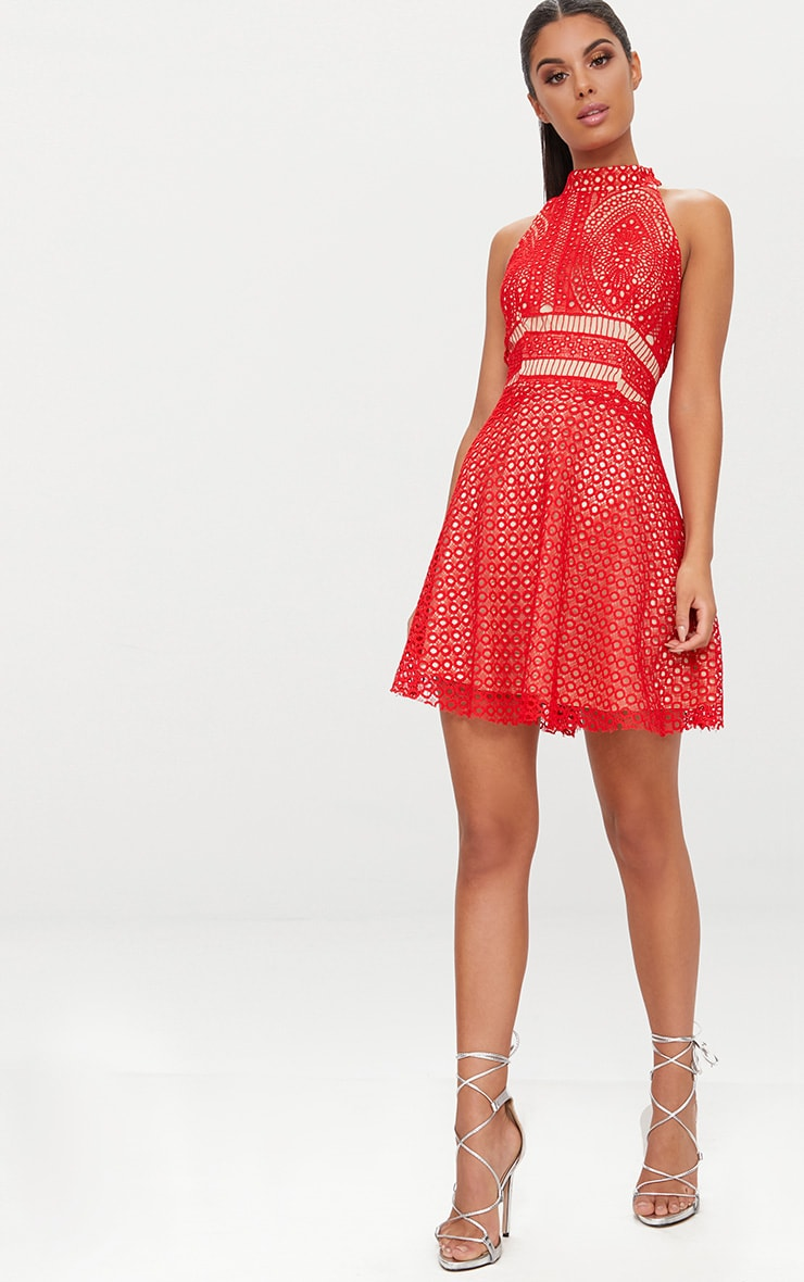 Red Lace High Neck Skater Dress  4