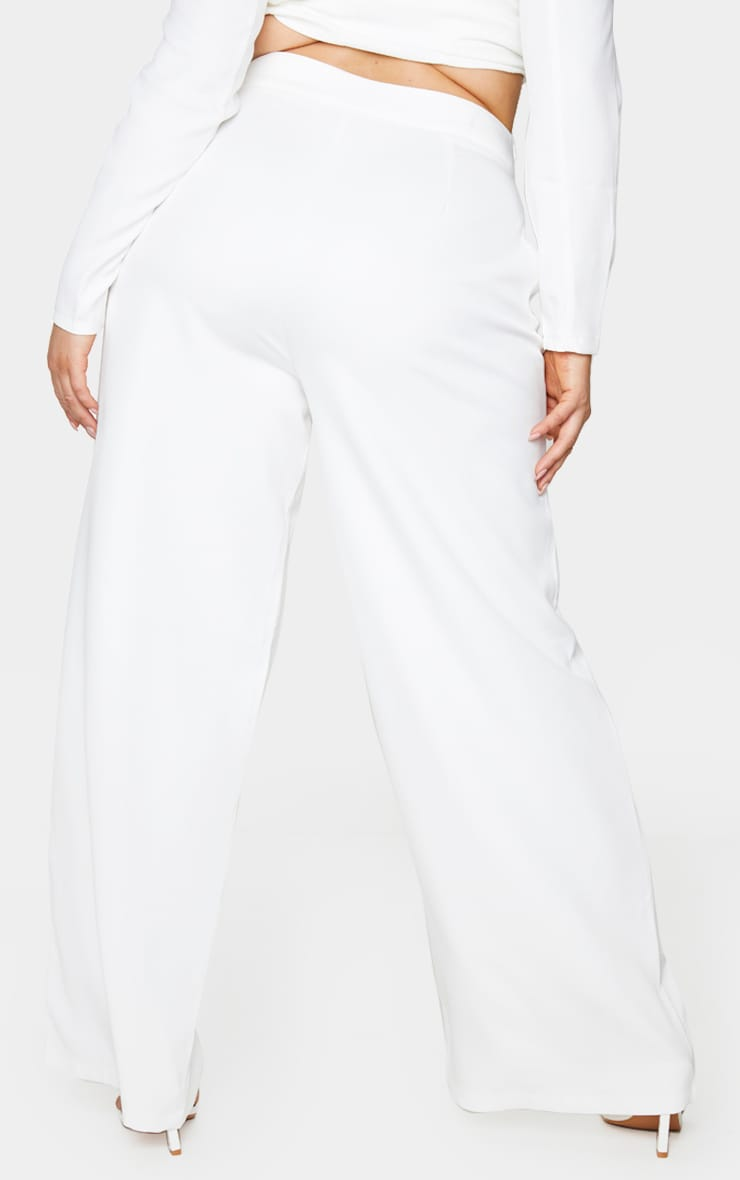 Plus White Pleat Detailed Wide Leg Pants 3