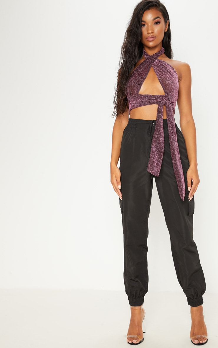 Purple Textured Glitter Wrap Front Crop Top  4