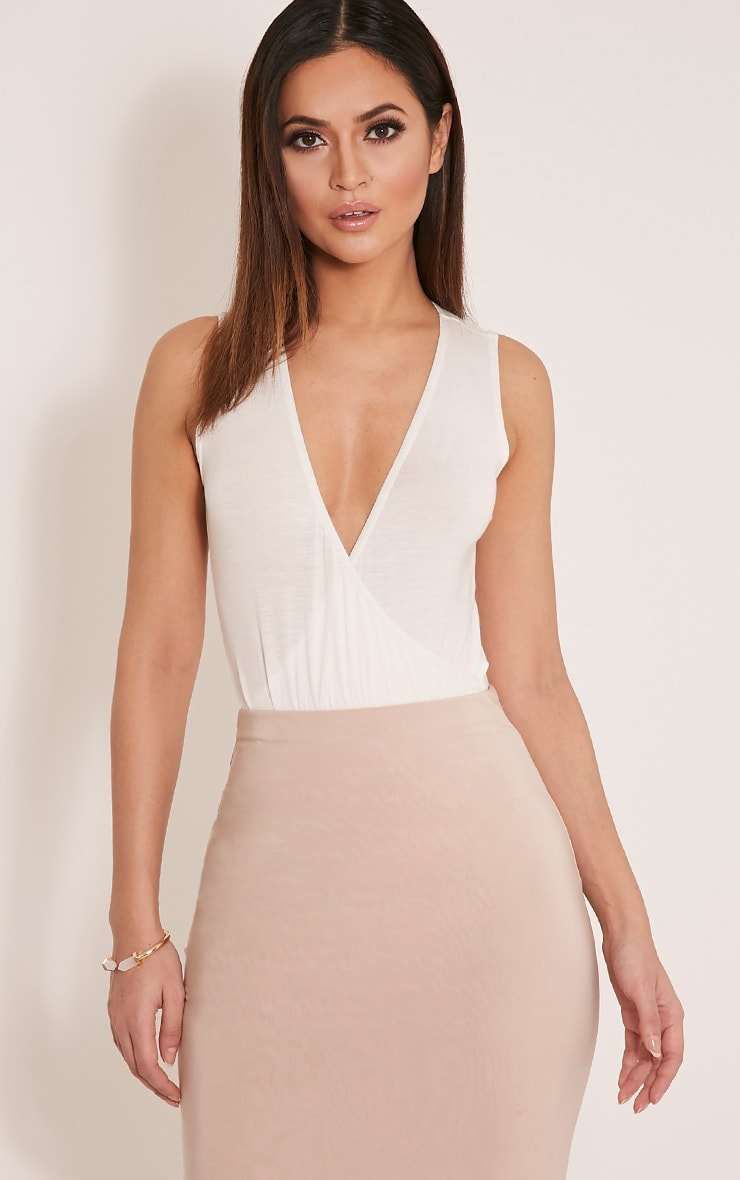 Sicily Cream Sleeveless Cross Over Bodysuit 1