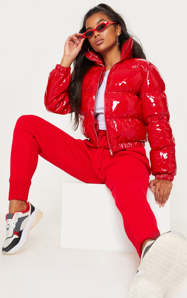 Red Cropped Vinyl Puffer 4