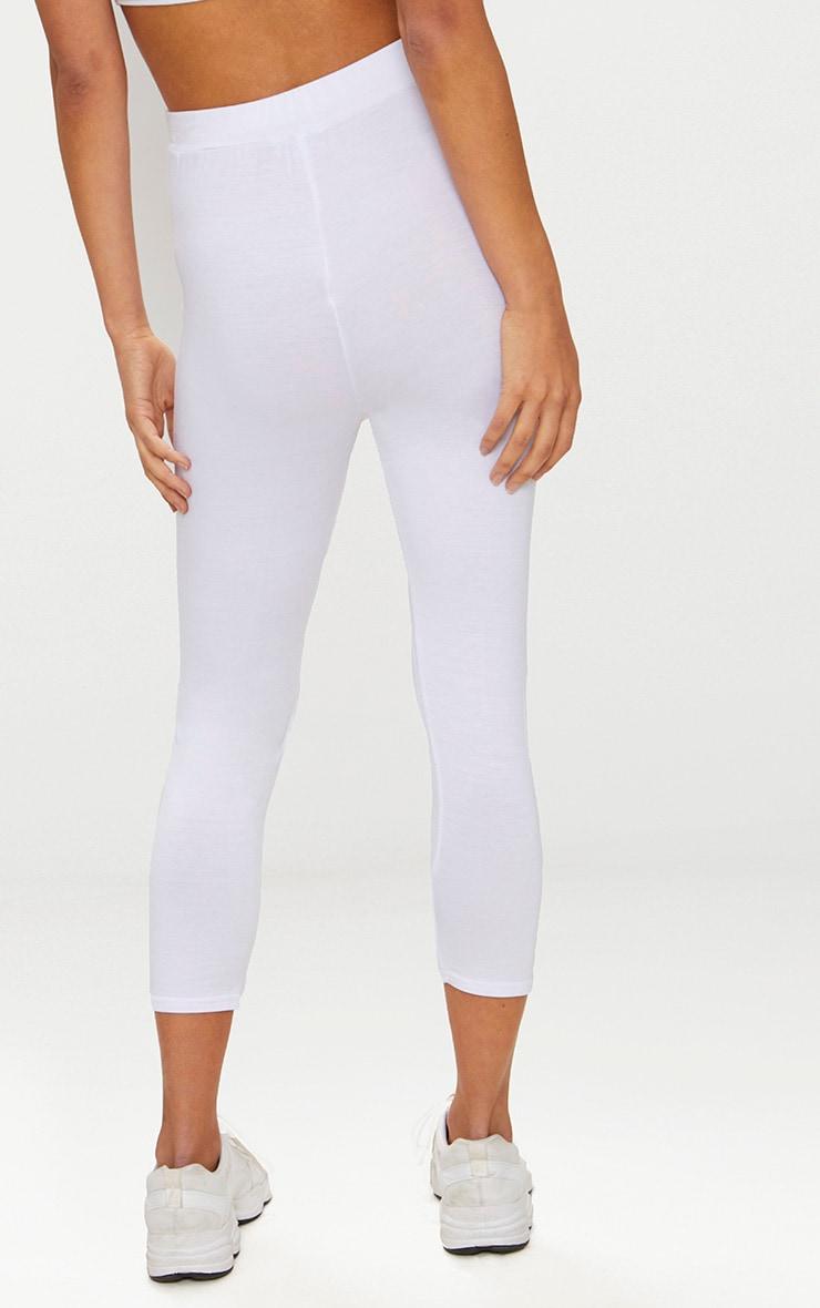 White Basic Cropped Jersey Leggings  4