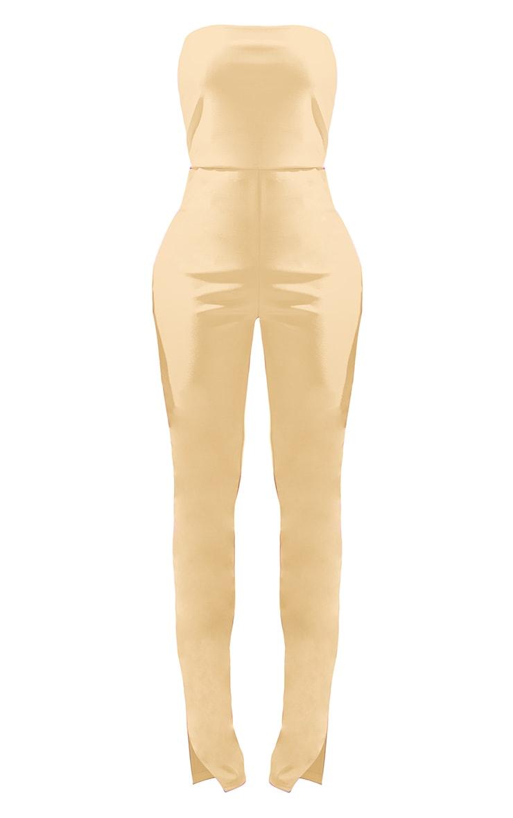 Shape Cream Croc PU Split Hem Bandeau Jumpsuit 5