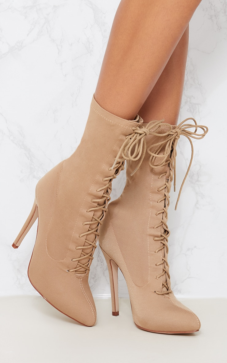 Mazy Nude Lace Up Sock Boots 1