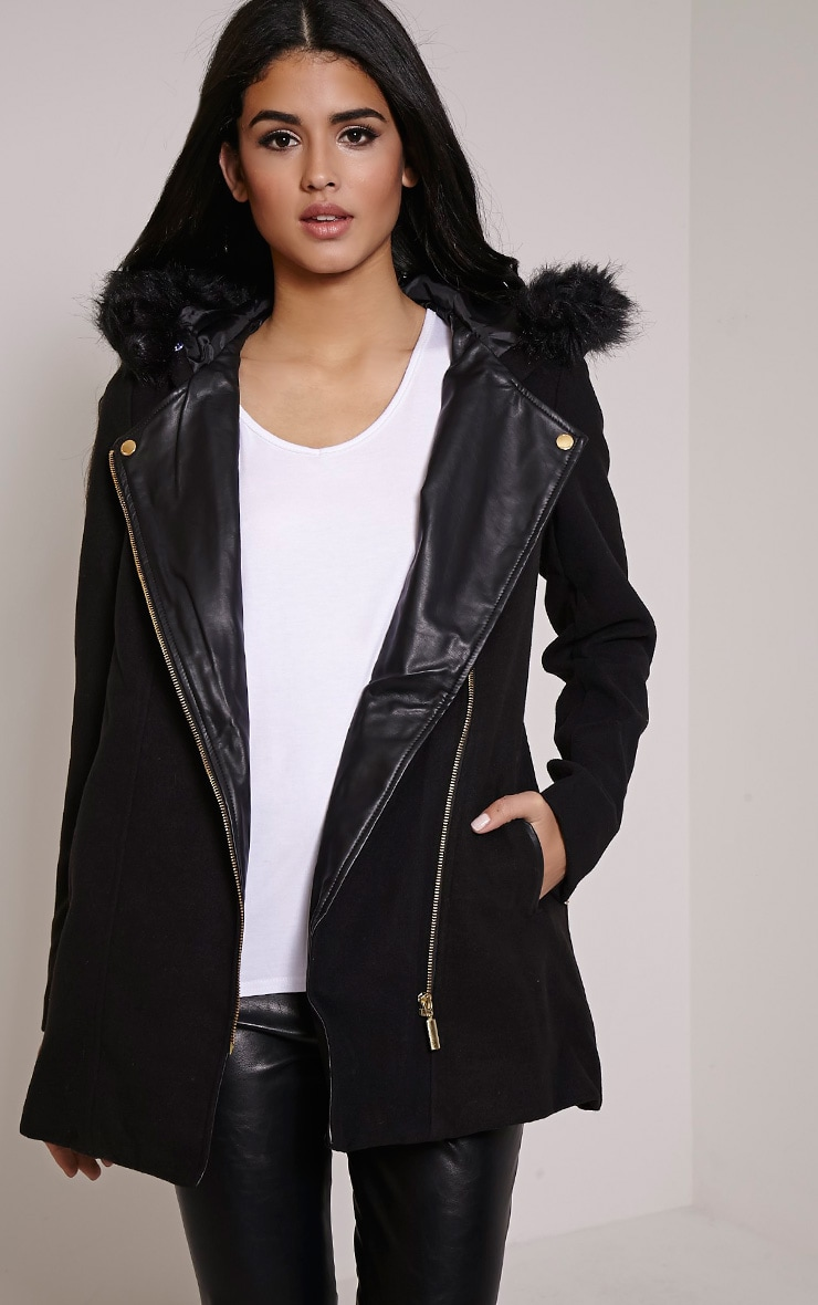 Lacey Black Faux Fur Collar Wool Biker Jacket 1