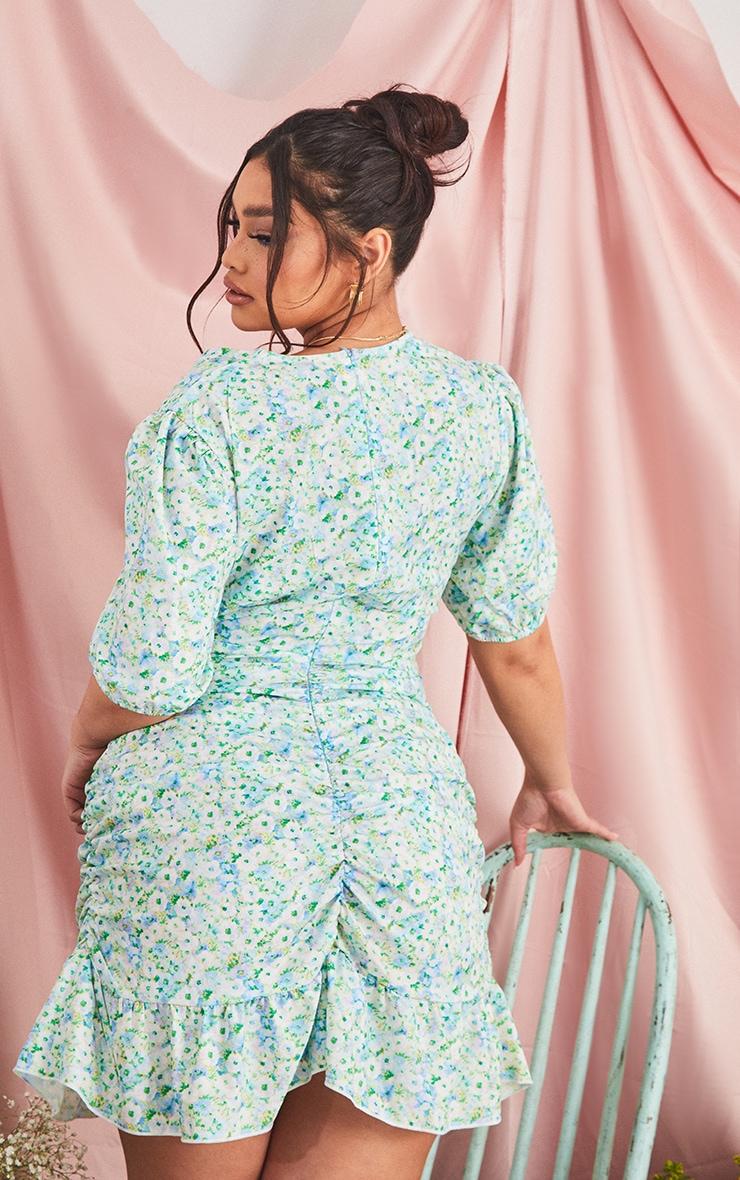 Plus Blue Floral Print Cut Out Dress 2
