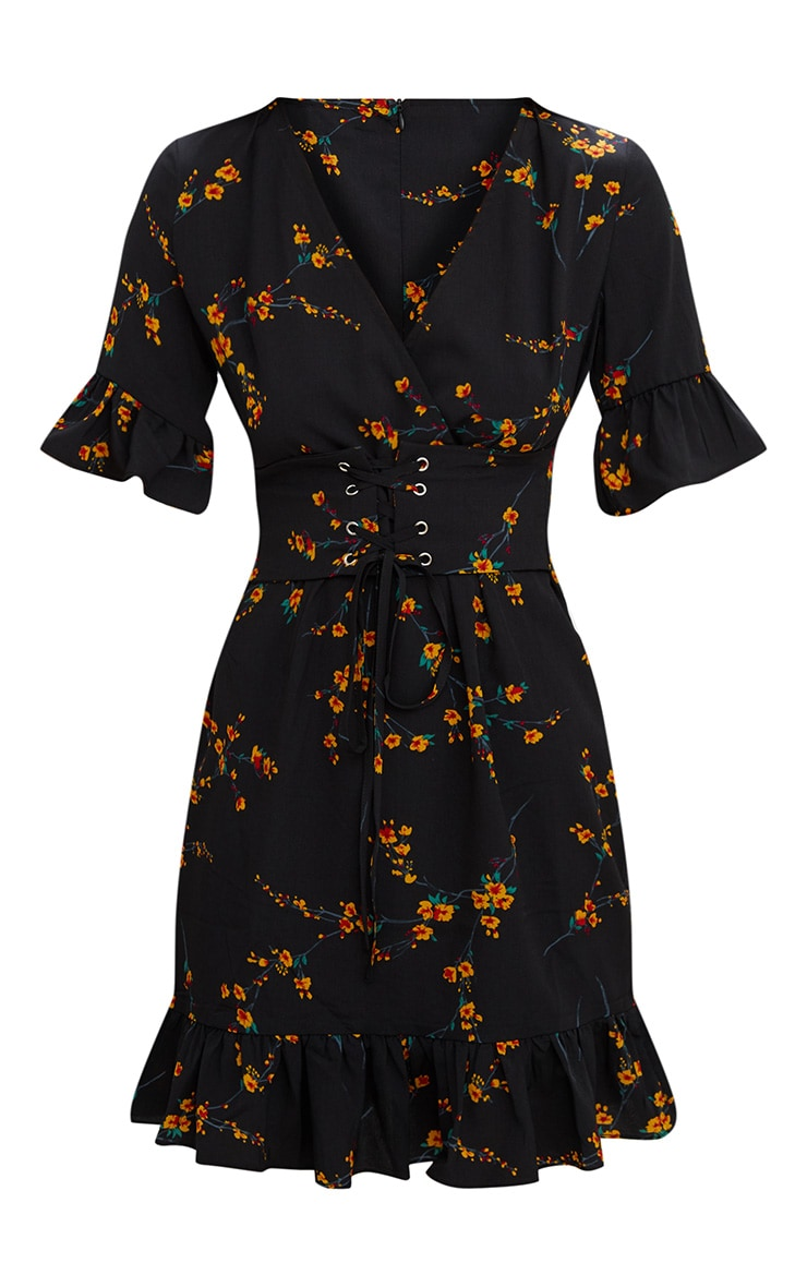 Black Floral Corset Swing Dress  3