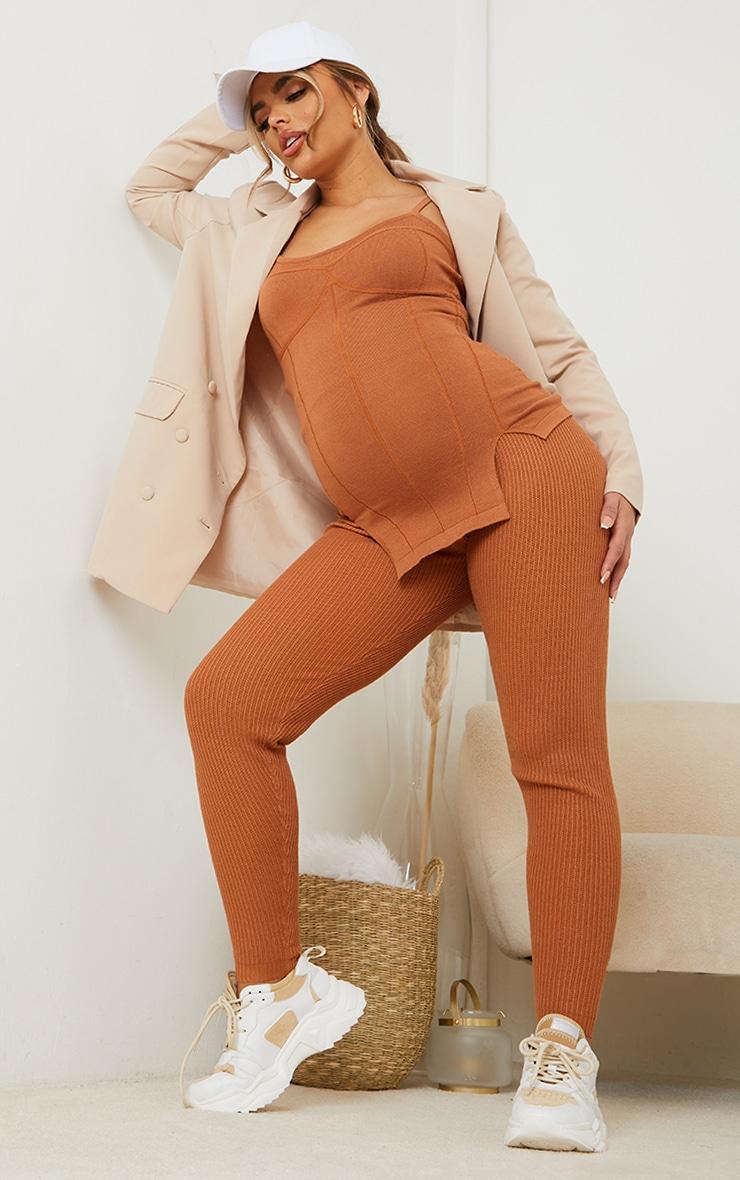 Maternity Tan Bump Shaping Knitted Wide Rib Leggings 1