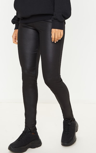 Black Coated Rib Legging