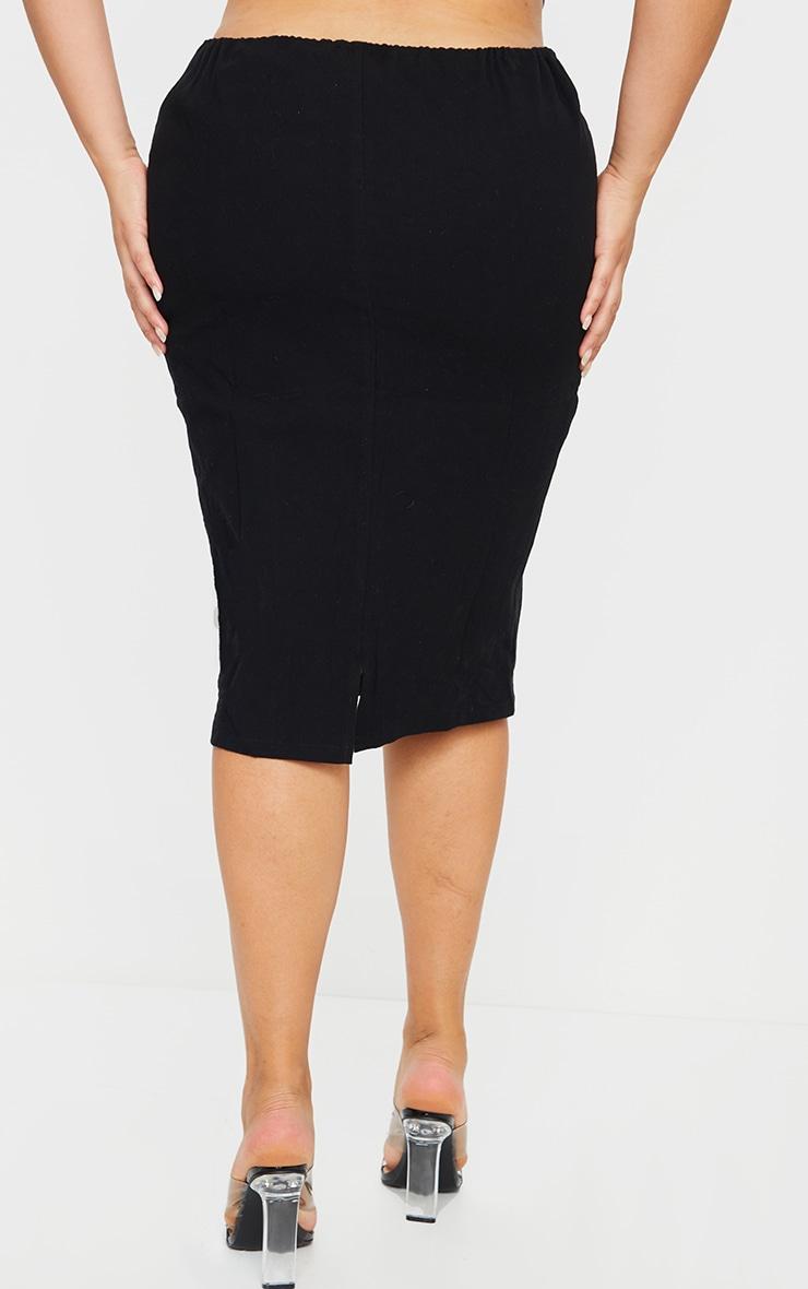 Plus Black Woven Tie Wasit Midi Skirt 3