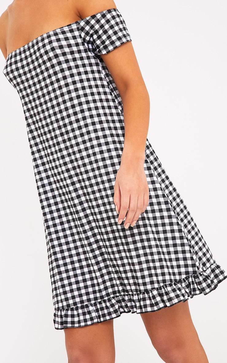 Isabeau Black Gingham Bardot Frill Hem Swing Dress 5