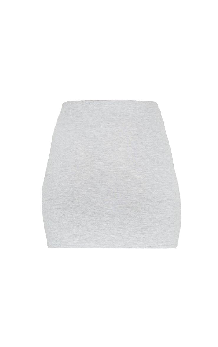 Essential Marl Grey Cotton Blend Jersey Mini Skirt 6