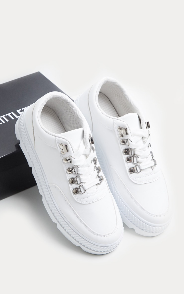 White Hiker Detail Lace Up Flatform Sneakers 4