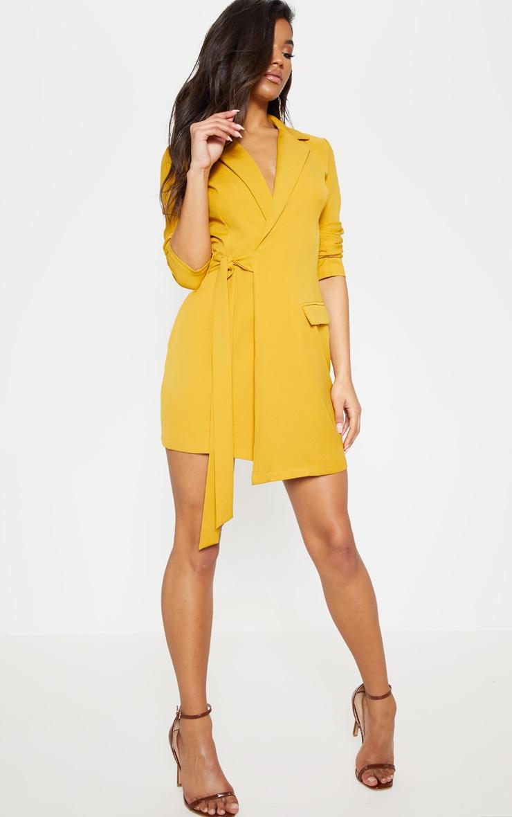 Mustard Tie Detail Blazer Dress 5