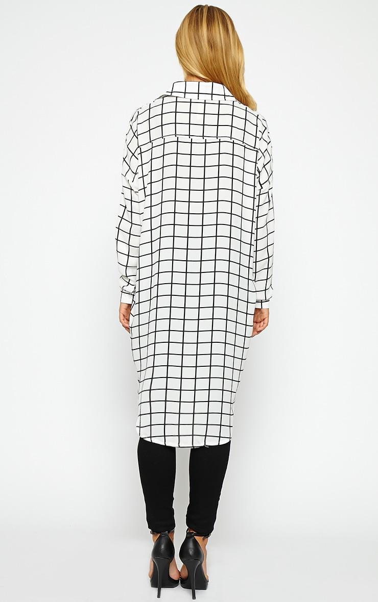 Rhona White Check Shirt Dress 2