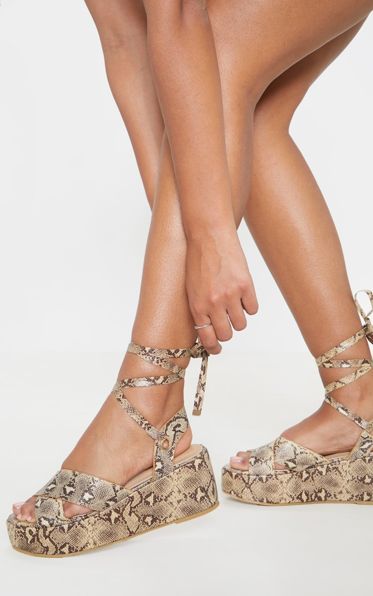 Snake Flatform Lace Up Sandal 2