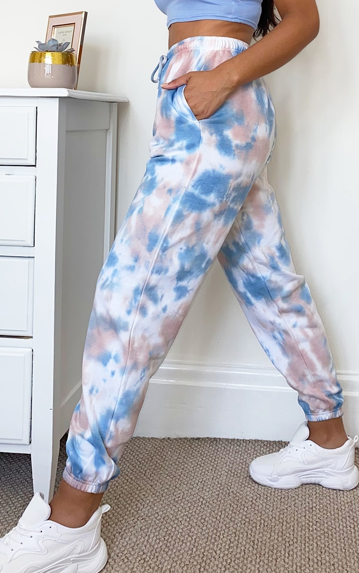 Dusty Blue Acid Wash Casual Joggers 2