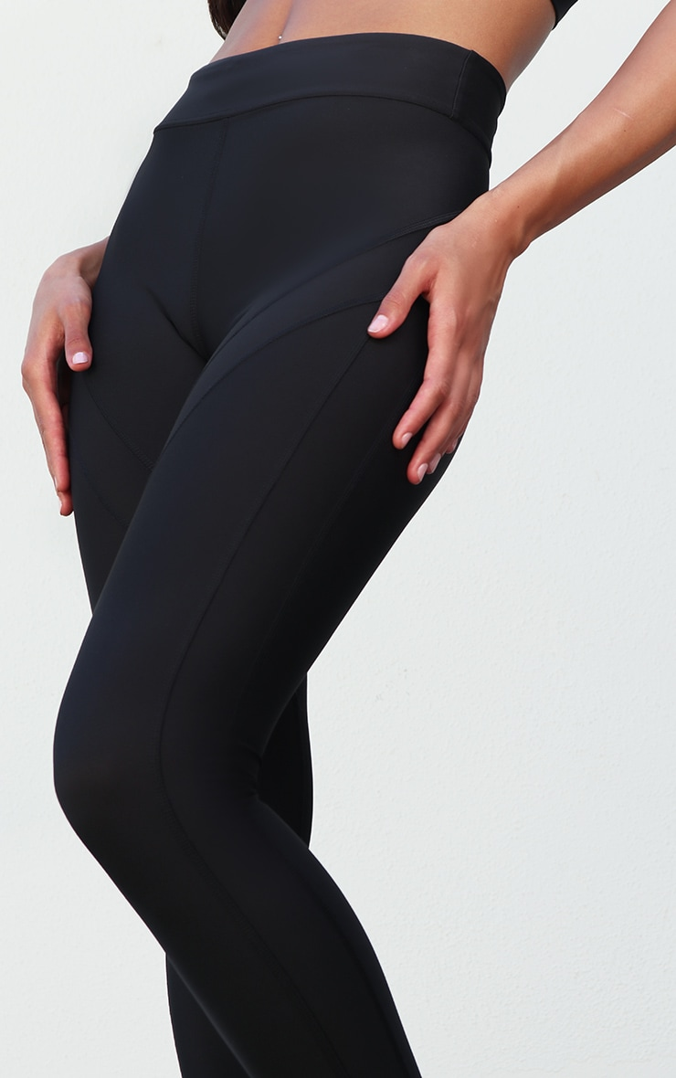 Black Premium Contrast Panel High Waist Gym Legging 4