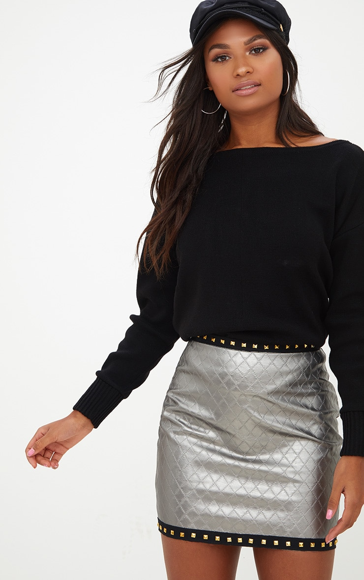 Gunmetal Faux Leather Quilted Stud Trim Mini Skirt 1