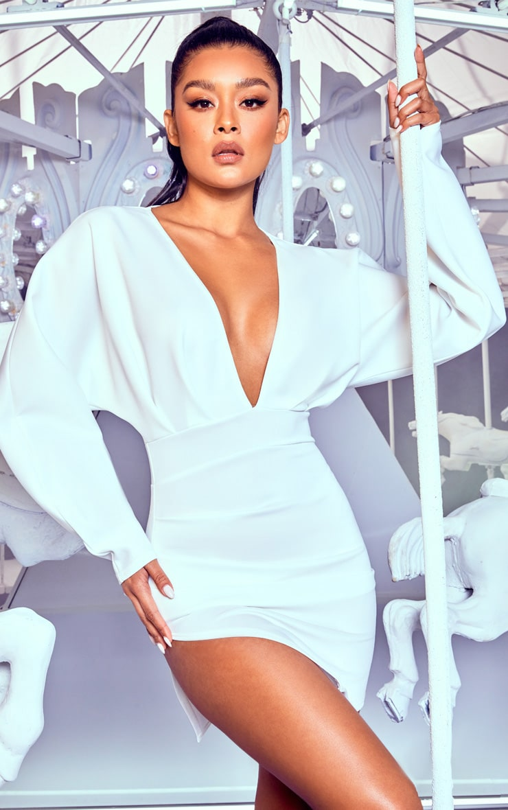 White Pleated Balloon Sleeve Bodycon Dress