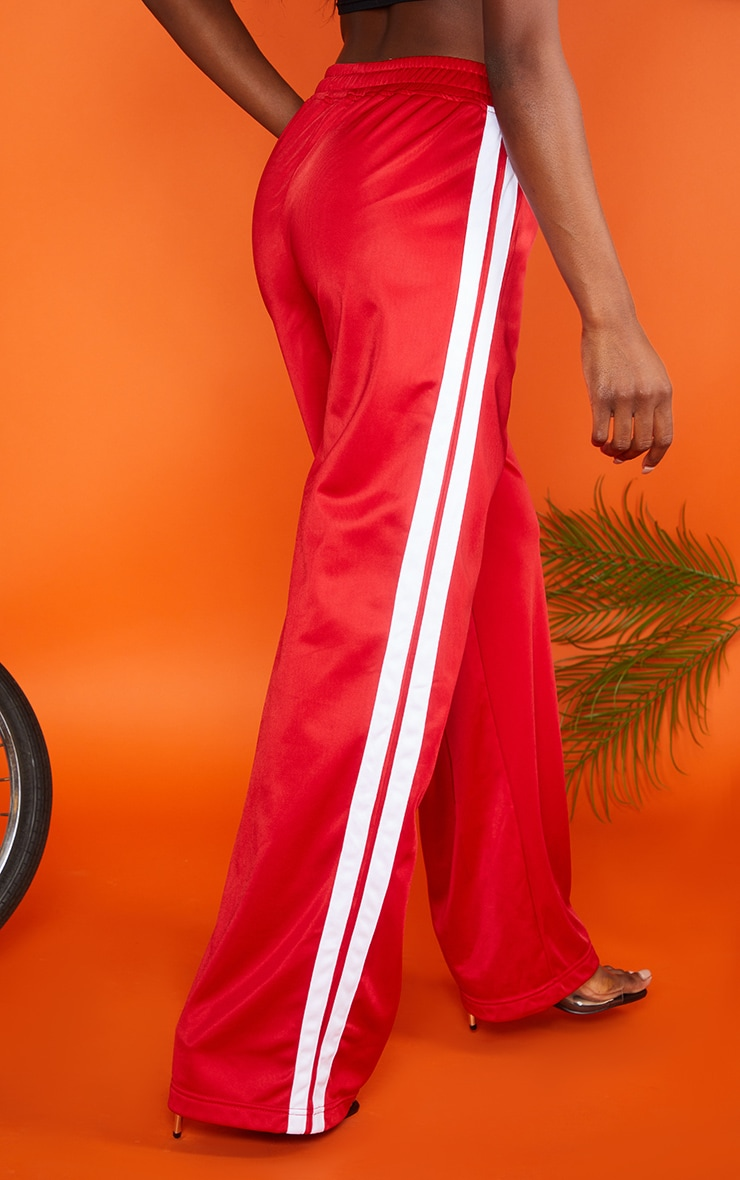 Red Sports Stripe Wide Leg Joggers 3