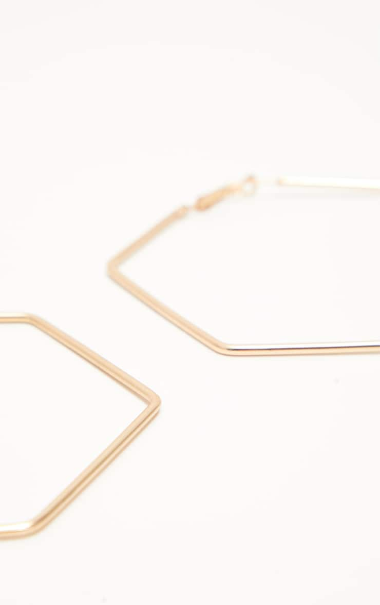 Gold Large Hexagon Hoops 3