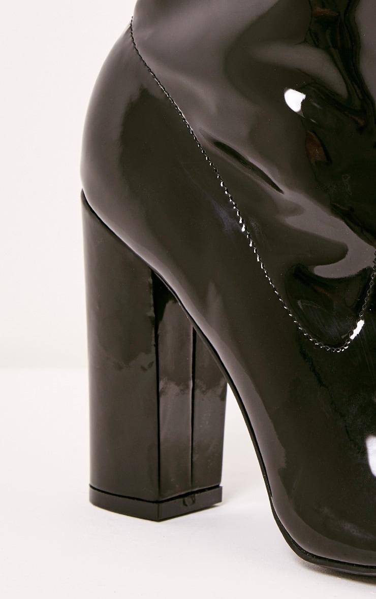Malina bottines noires vernies à talons bout ouvert 5