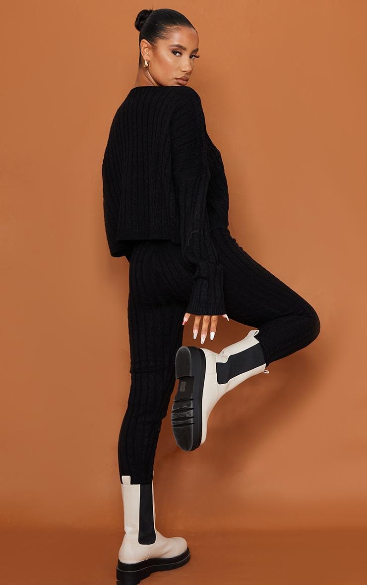 Black Cable Knit Sweater & Legging Set 2